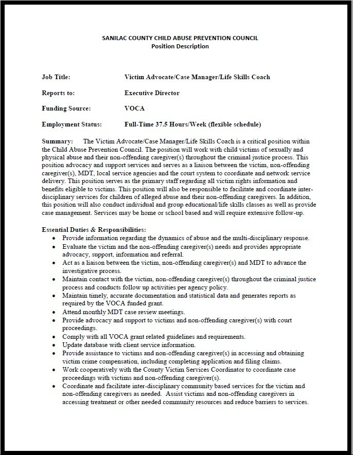 Job Posting CAPC Victim Advocate Case Manager .JPG