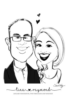 wedding caricatures black and white