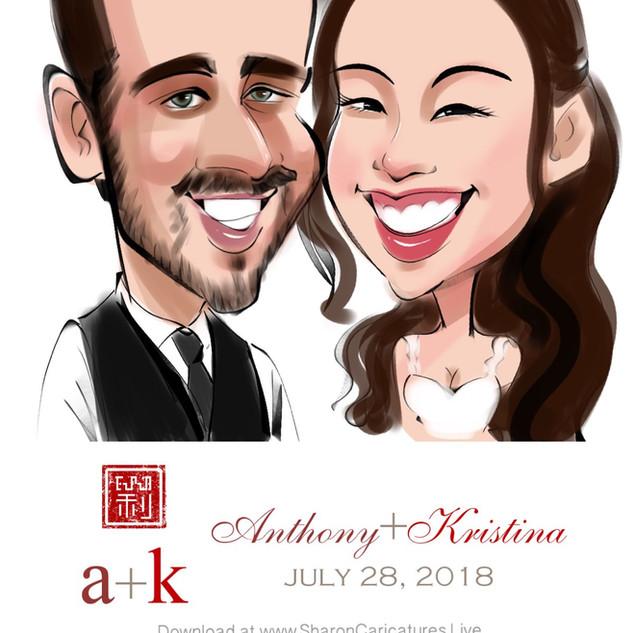 wedding couple caricatures