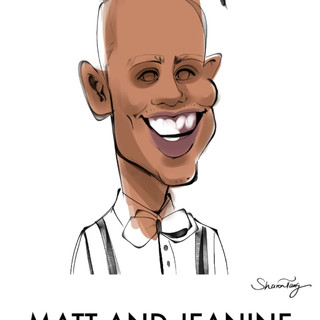 wedding caricatures drawing process