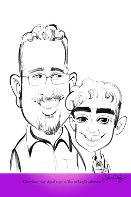 Son's caricature black and white