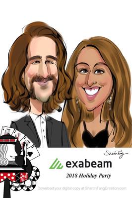 couple caricatures _ casino theme
