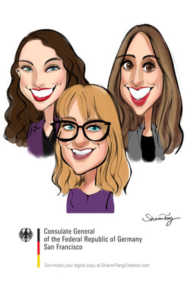 family caricatures from bay area caricaturist