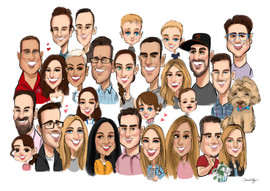 family caricatures, group caricatures