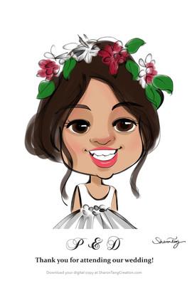 flower girl caricature