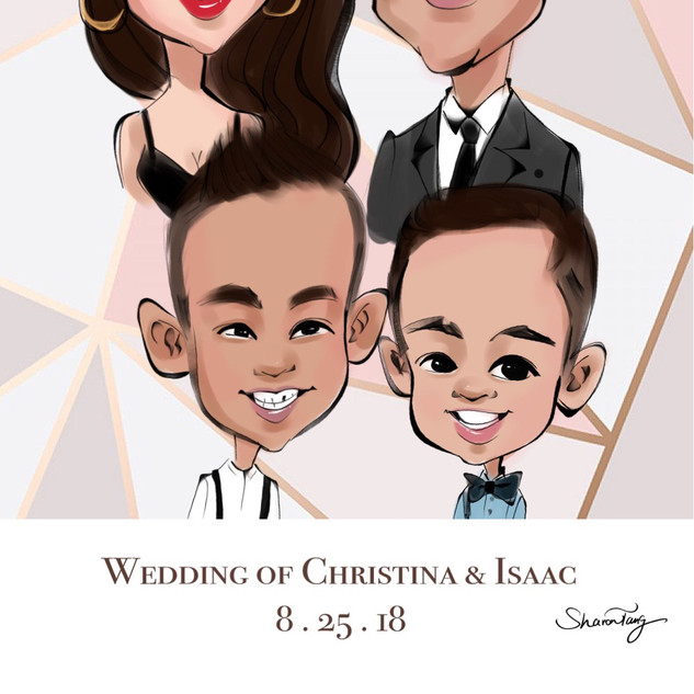 family caricatures in a wedding