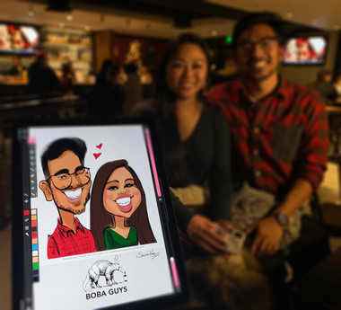 Holiday Caricature @Boba Guys