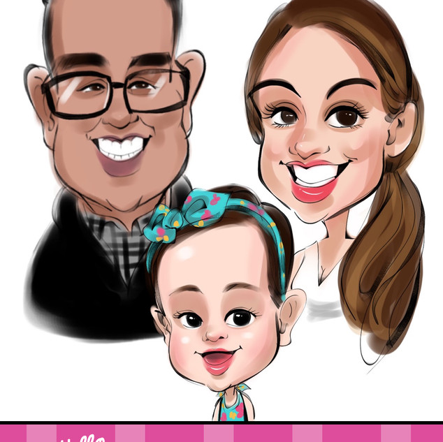 Family caricatures birthday party