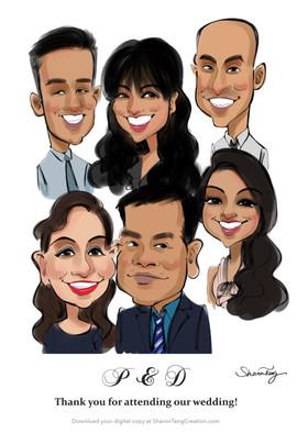family caricature portraits