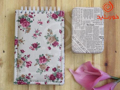 دفترچه مستطیلی طرح رز صورتی, Notebook with pink rose patern