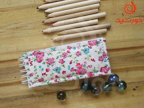 دفترچه مستطیلی طرح گل نسترن, Notebook with rose cannia pattern