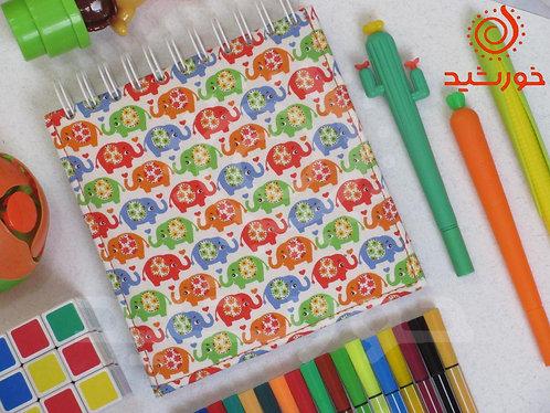 دفترچه مربعی طرح فیلی, Notebook with elephant pattern