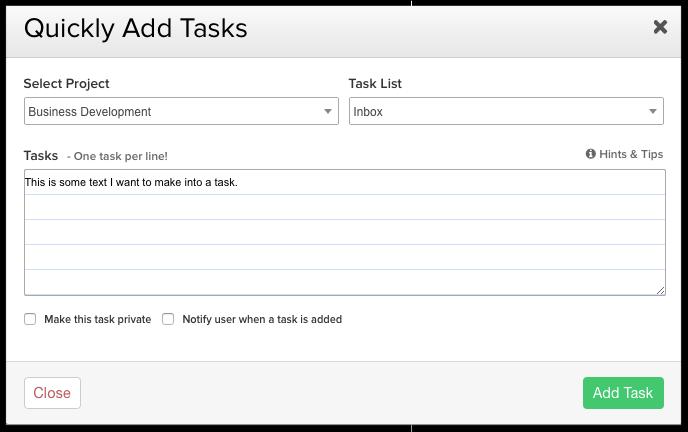 Quick task addition