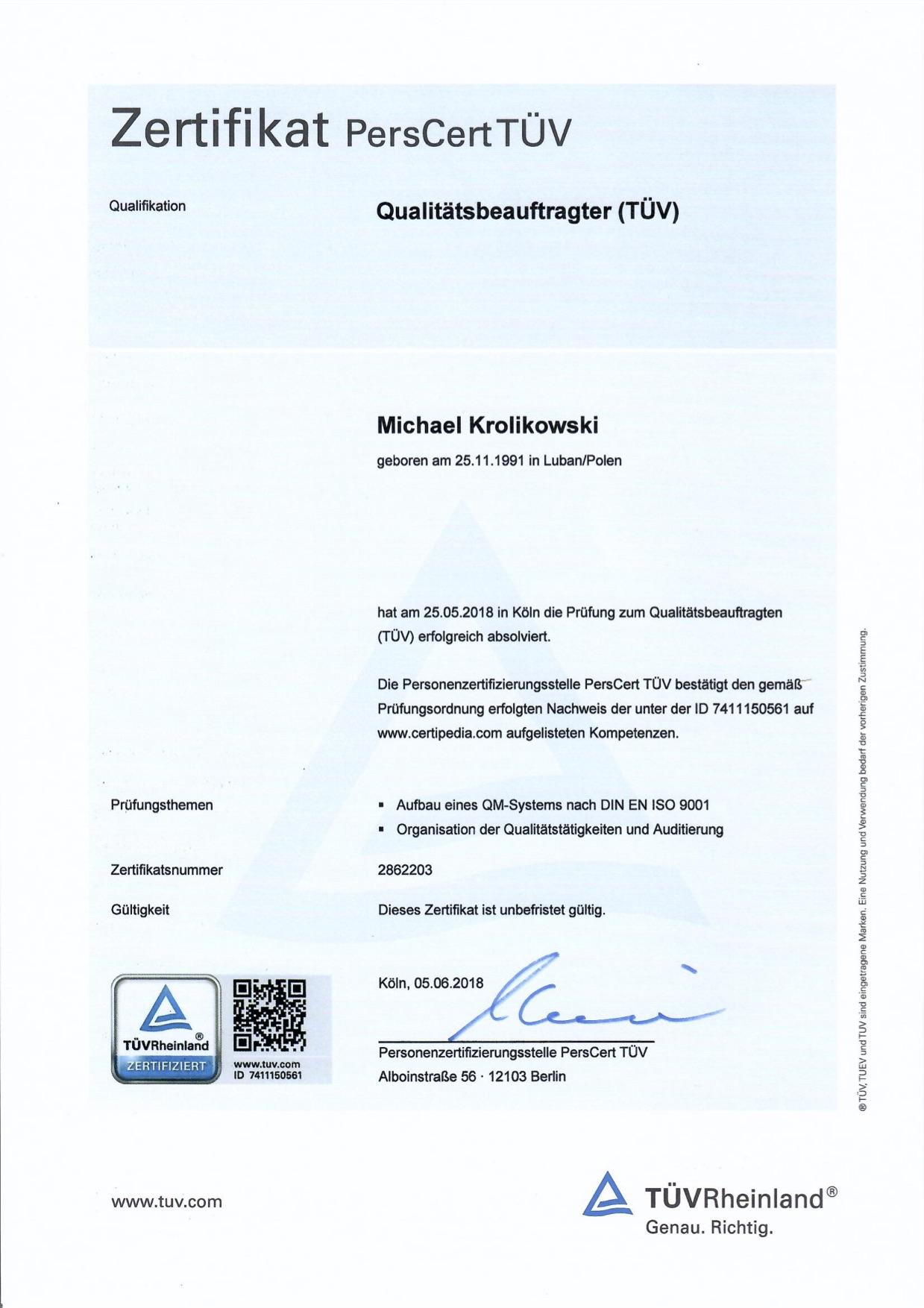 TÜV Zertifikat Qualitätsbeauftragter