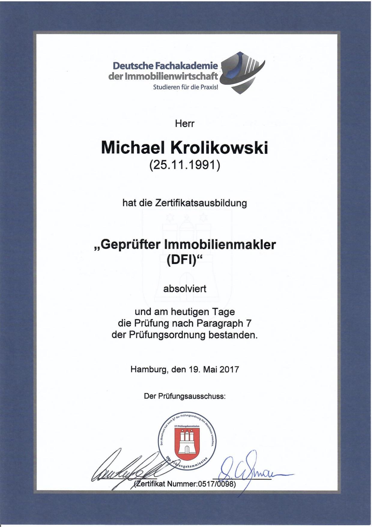 Zertifikat gepr. Immobilienmakler