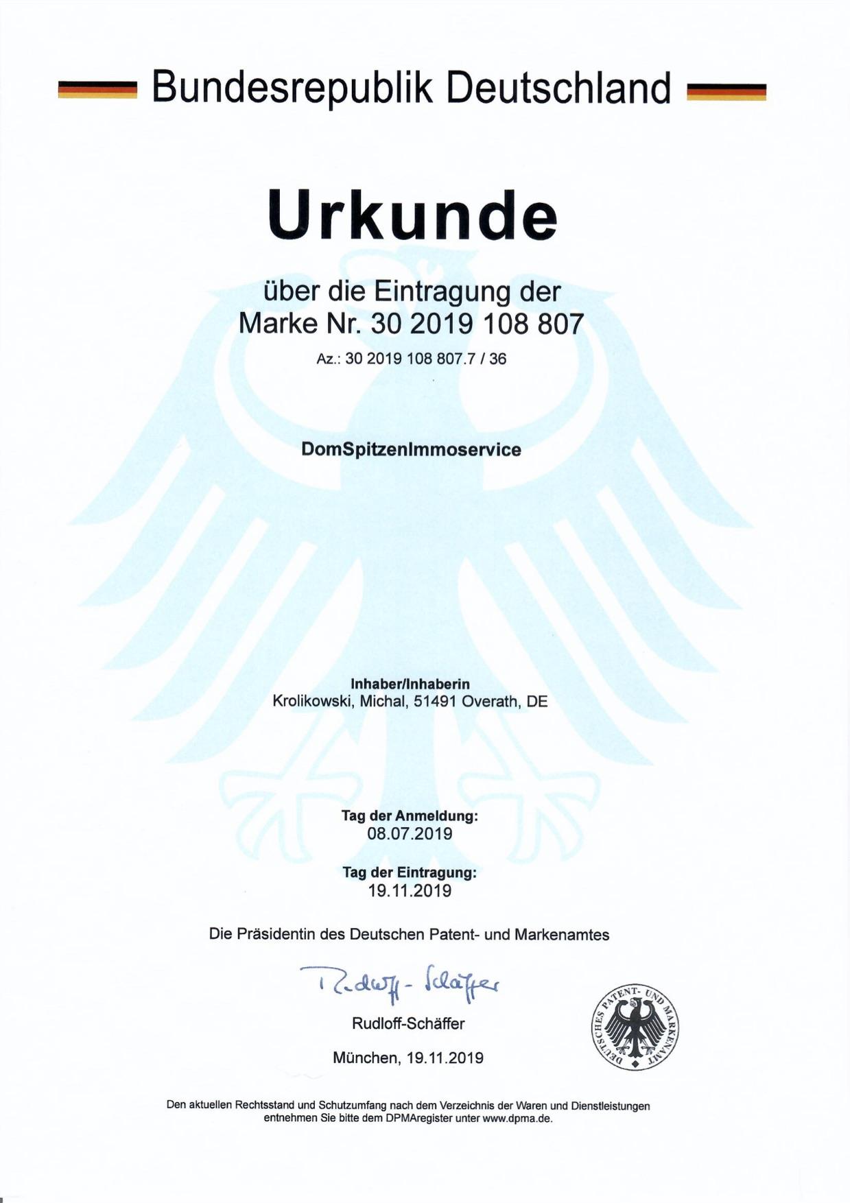 Eintragung in das deutsche Patent- und M