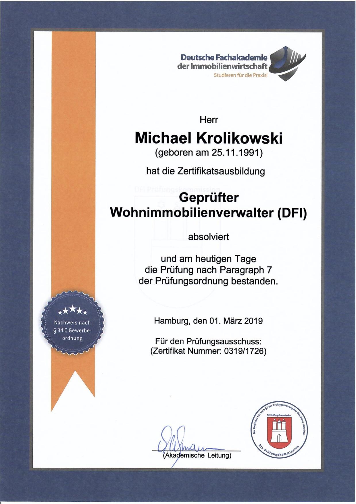 Zertifikat gepr. Wohnimmobilienverwalter