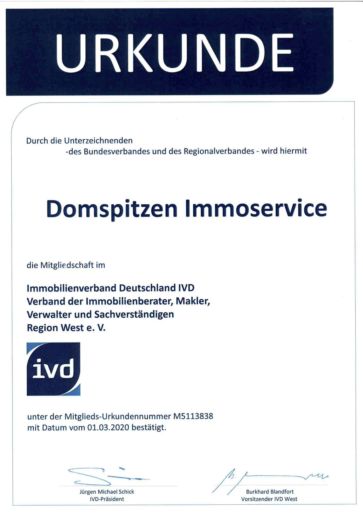 IVD Urkunde