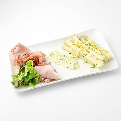 Asperges d'Alsace, aux deux jambons et sa sauce gribiche