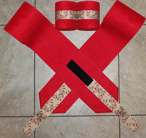 Red Sock Monkey Ribbon Polo Wraps