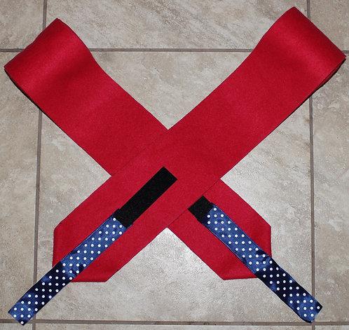 Navy Polka Dot on Red Polo Wraps