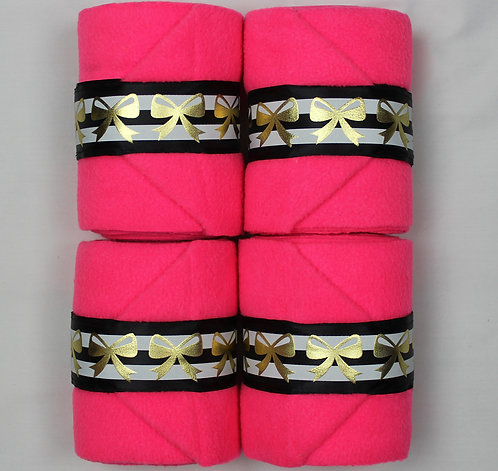 Hot Pink Ribbon Trim Polo Wraps