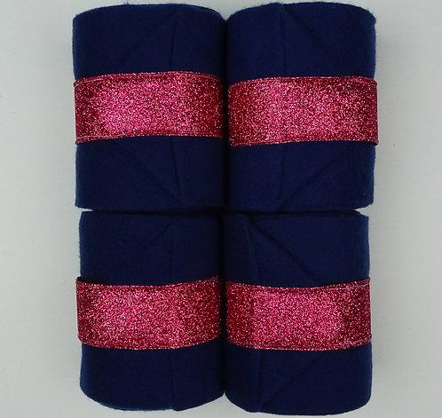 Navy Pink Sparkle Trim Polo Wraps