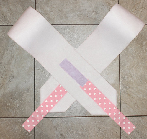 White Pink Polka Dot Ribbon Polo Wraps