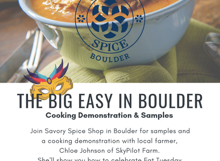 Event This Saturday, March 2! Cooking Demo at Savory Spice in Boulder