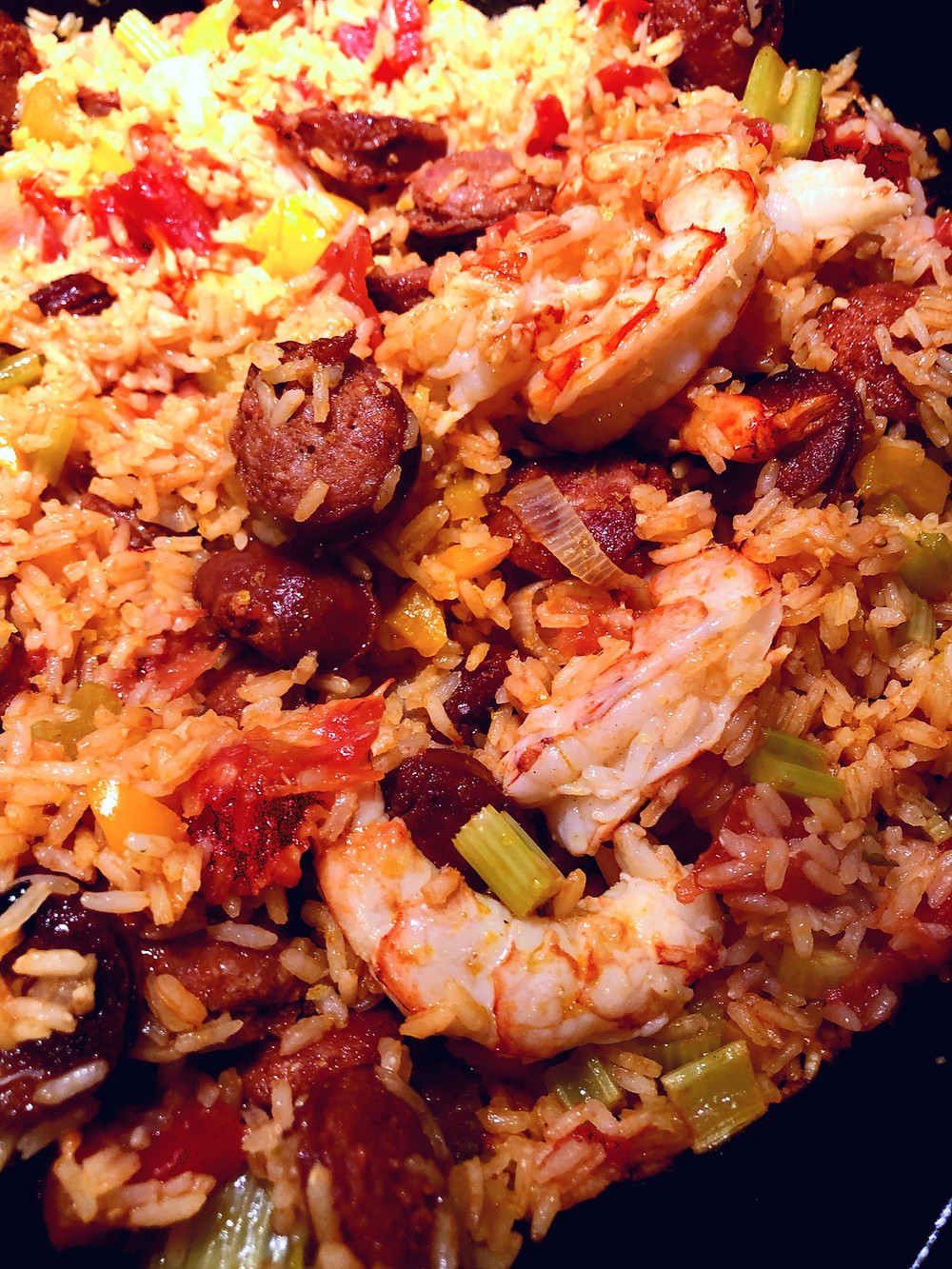 shrimp and chorizo rice dish close up