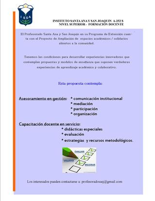 Profesorado Santa Ana y San Joaquín - Programa de extensión