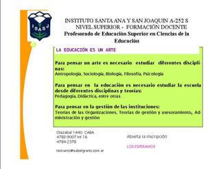 Información: Profesorado de Educación Superior en Ciencias de la Educación