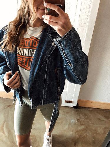 Vintage Denim Moto Jacket