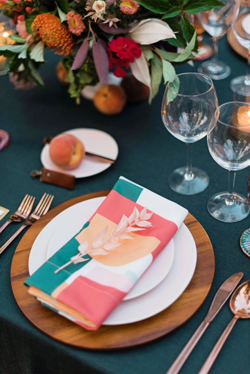 Colorful Peach Harvest Tablescape