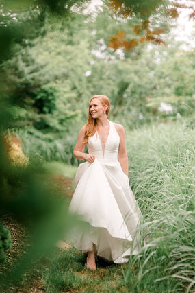 Bride walks in the Garden