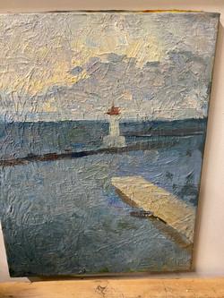 Vintage Oil on Canvas Ocean & Lighthouse