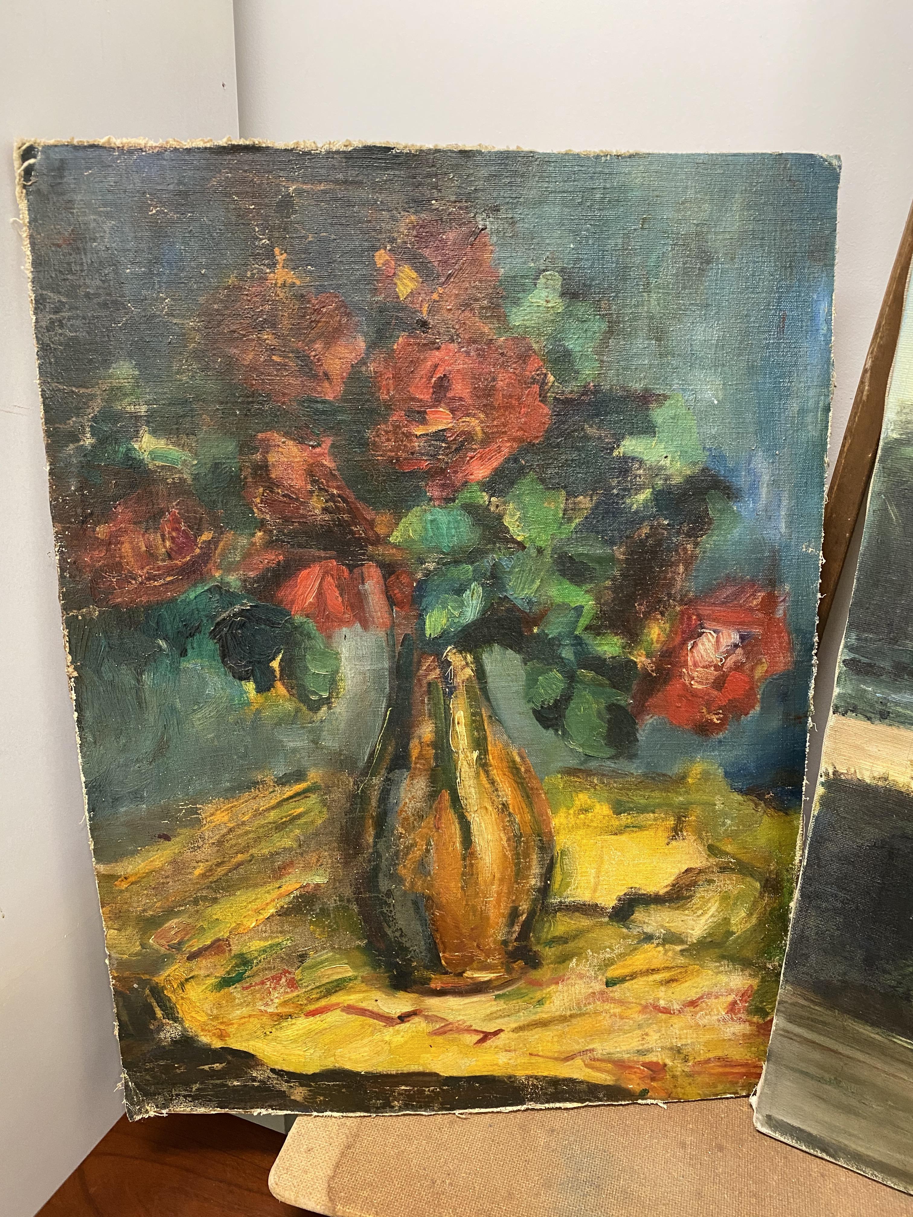 Vintage Dark Floral Painting