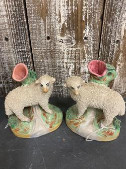 Vintage Staffordshire Sheep Spill Vase