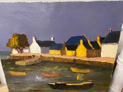 """Oil on canvas """"Port at Brittany"""""""