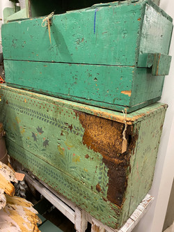 Vintage Green Painted Trunks