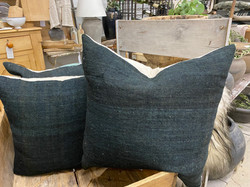 Black Wool Pillow Covers with Down Inserts