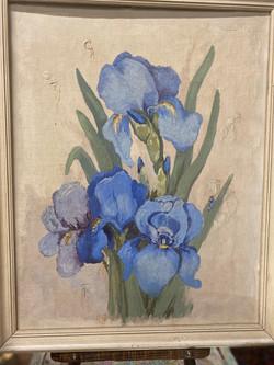 1960's Oil on Canvas Iris Oil Painting