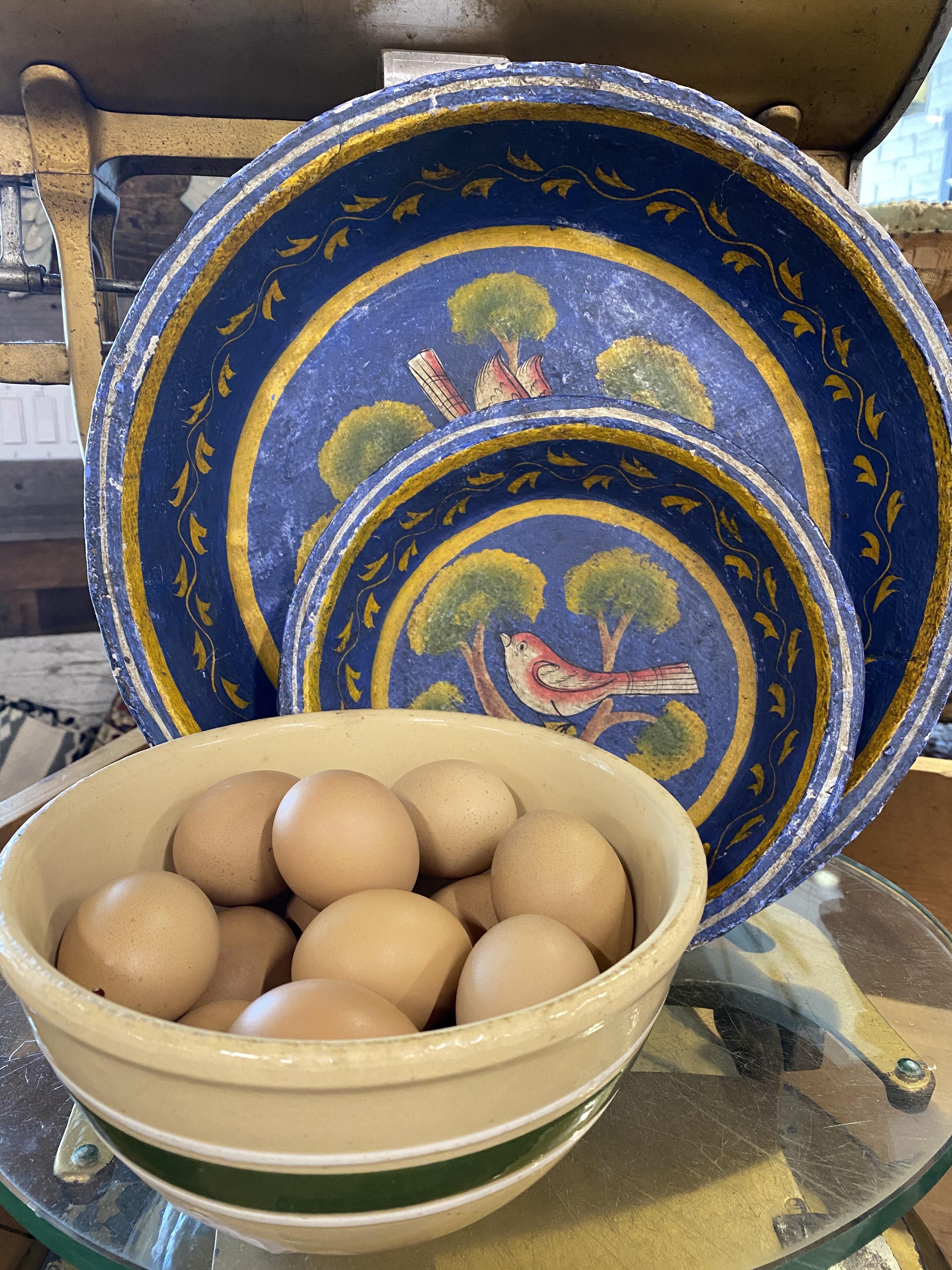 Blue Paper Mache Bowls