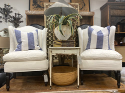 Wingback Slip Covered Chairs