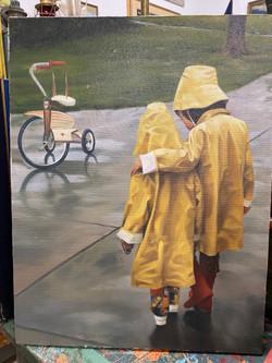 Vintage Painting of Kids in Rain