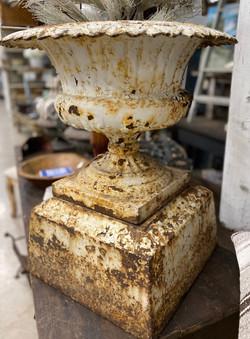 Vintage Iron Urn on Pedestal