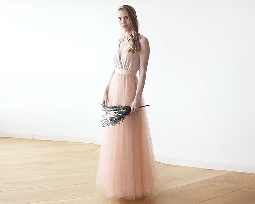 Pink Maxi Tulle Bridesmaids Gown