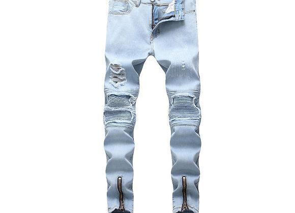 Elastic Hip Hop Skinny Slim Fit Biker JeansDenim Pants