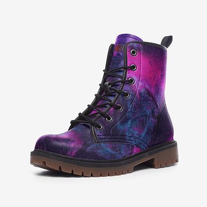 Purple Leather Combat Boot