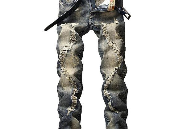 New Retro Men Jeans Ripped